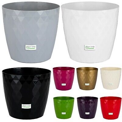 Plant Pots Crystal Modern Large Small Medium Round Decorative Plastic Holder
