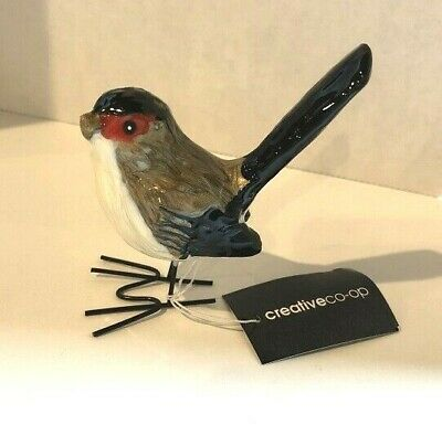 Creative Co-Op Brown/Black/Red Bird Figurine w/Glazed Enamel Finish New with Tag