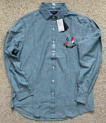 NEW Polo Ralph Lauren Mens Cross Flags CP-93 Chambray Denim Shirt Retro Stadium