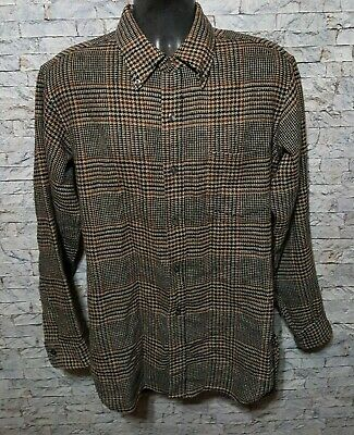 Pendleton Men's Houndstooth 100% Virgin Wool Long Sleeve Flannel Shirt Large
