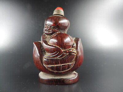 Hand-carved Old Chinese Ox Horn Snuff Vial Figure Shap Snuff Bottle Copper Spoon