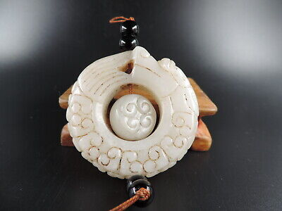 Antique Chinese Nature Hetian Jade Hand-carved  Dragon White Jade Peadant