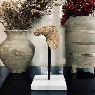 Excellent Chinese  West Han Dynasty Horse's head with painting  2200 years old