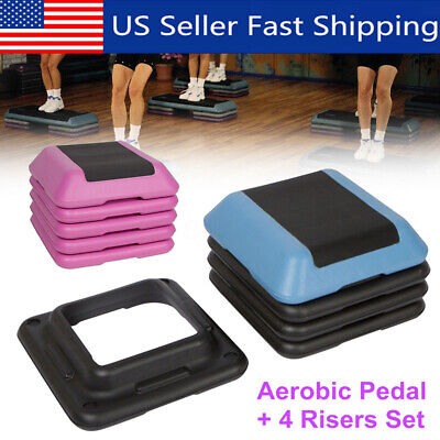 16'' Aerobic Step 4 Risers Fitness Exercise Stepper Cardio Workout Pedals US A