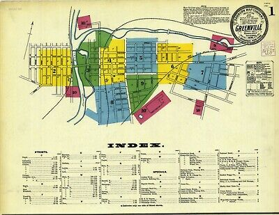 Greenville, Pennsylvania~Sanborn Map©sheet~73 maps in  color~1888 to 1922