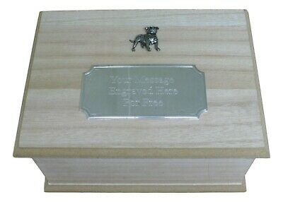 Staffy Wooden Pet Ashes Urn or Burial Cast with Engraved Plaque 346