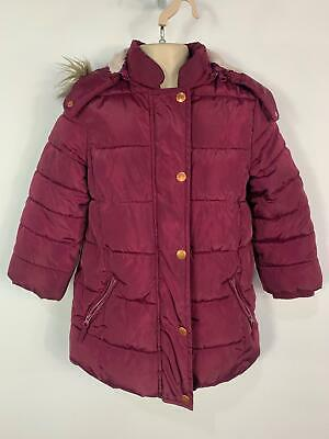 Girls John Lewis Purple Casual Winter Padded Hood Raincoat Jacket Kids Age 5 Yrs