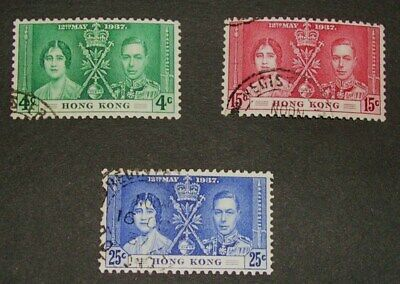Stamps Hong Kong 1937 Coronation King George VI SG137-9 Fine Used