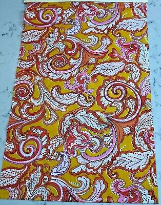 Vintage Paisley Print Fabric Remnant 1980s Orange