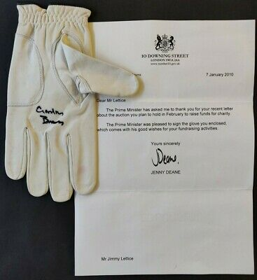 Gordon Brown Signed Golf Glove with Letter from Downing Street
