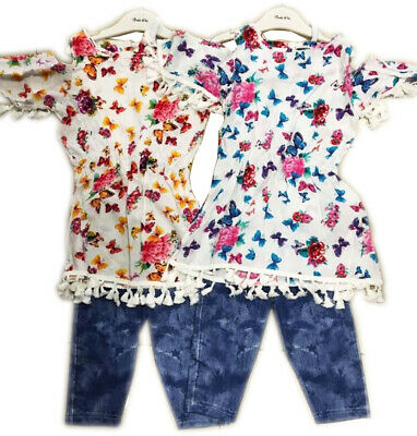 Girls Cotton Floral Butterflies Print Dress Cute With Leggings Age 4-12 Years