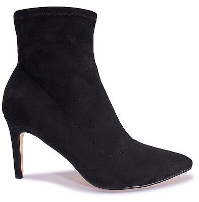 Ladies Womens Ankle Black Faux Suede High Heel Sock Fitted Zip Boots Shoes Size