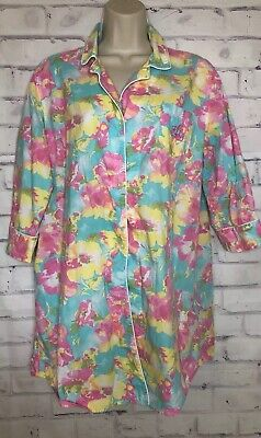 Ralph Lauren Sleep Gown Shirt Monogram Pocket Sz L Blue Pink Floral Cotton