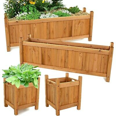 Set of 2 Wooden Garden Planters Flower Plant Pot Window Box Raised Bed Basket