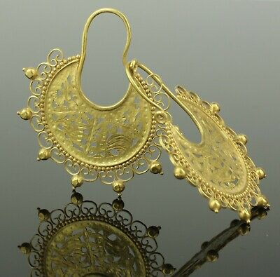 FABULOUS ANCIENT BYZANTINE GOLD EARRINGS - CIRCA - 6th/7th Century AD