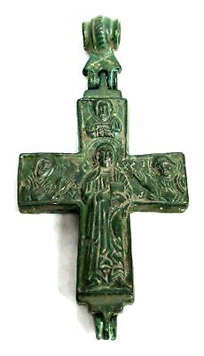 700-100 Ad Byzantine Bronze Large Hinged Reliquary Cross Encolpion Pendant Coa