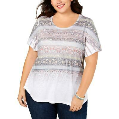 Style /& Co Womens Off-The-Shoulder Paisley Pullover Top Shirt Plus BHFO 3078