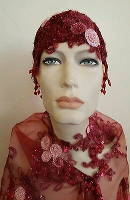 Merlot Gatsby 20's Waterfall Bead Sequin Lace Flapper Bridal Wedding Headpiece