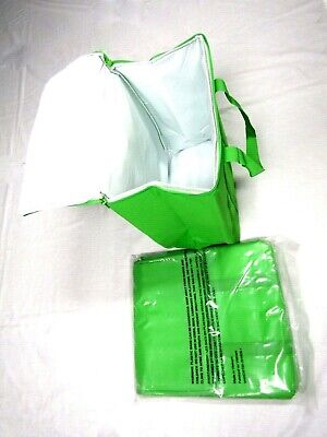 Lot of 4x Large Insulated Reusable Zippered Grocery Bag / Delivery Bag, Green