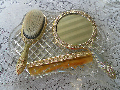 1960's VINTAGE CRYSTAL GLASS DRESSING TABLE TRAY & VANITY BRUSH COMB MIRROR SET