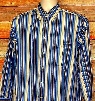Canali Italy Multicolor Stripe Long Sleeve Mens Dress Shirt Sz M Mint Condition