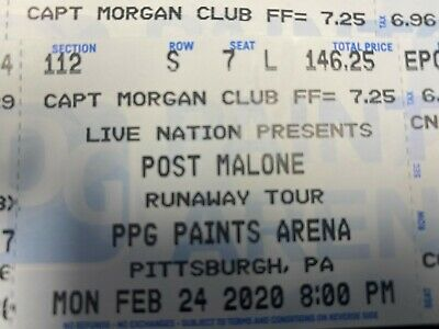 (2) Post Malone Tickets (Sect. 112/Row S/Club Level) Pittsburgh, PA * Feb 24th