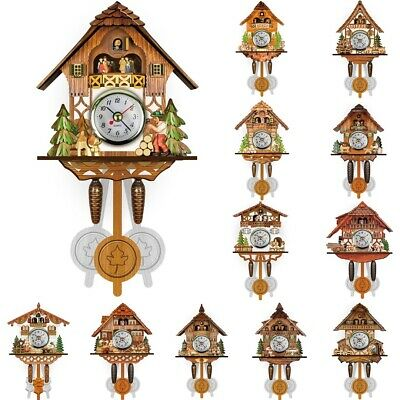 Vintage Wood House Forest Chalet Swing Cuckoo Clock Room Wall Hanging Decor Gift