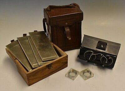 Gaumont Stereo Camera, Dark Slides and Original Leather Case France, 1900
