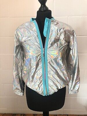 Girls USA Pro Silver Metallic Holographic Jacket Zip Training Top 13 Yrs 158cm