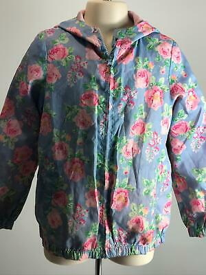 Girls Miss Evie Blue Pink Green Floral Hooded Rain Coat Jacket Kids Age 8-9 Yrs