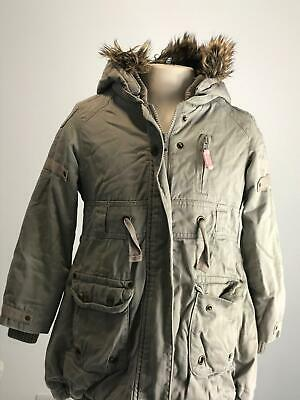 Girls Marks & Spencer Khaki Warm Winter Hooded Parka Jacket Kids Age 5-6 Years