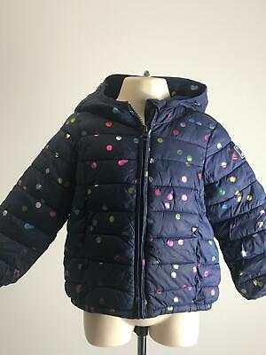 Girls Baby Gap Navy & Multi Colour Hooded Quilted Coat Jacket Kids Age  2 Years