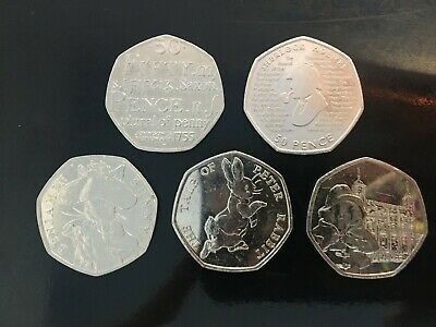 A Selection Of 5 50P Coins Rare Collectables Cheap Free Delivery