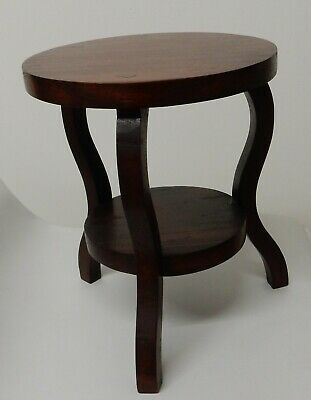 """Vintage Small Hand Crafted Wood 3 Legged Stool Display Stand Plant Stand 9"""" Tall"""