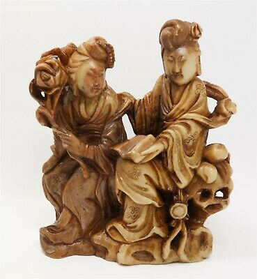 Antique At Least Early 20c Carved Jade Figural Group Two Women