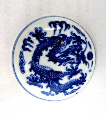 Fine Vintage Chinese Blue & White Dragon Porcelain Red Ink Stone Box ~ Signed