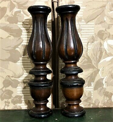 Pair victorian baluster wood carving column Antique french architectural salvage