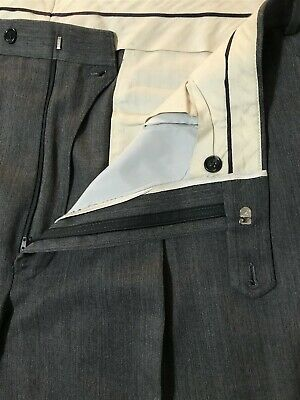 Brooks Brothers 40 x 32 Gray Pleated Cuffed 100% Wool Dress Pants