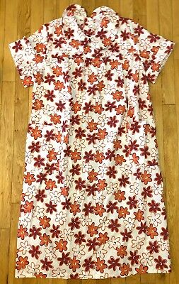 VTG BECO Open Snap Back Nightgown Floral Duster Sz Med Home Health Hospital USA