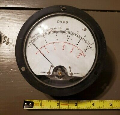 Large OHMS Panel Meter gauge - AC & DC A.C. & D.C. SEALED M1 VINTAGE