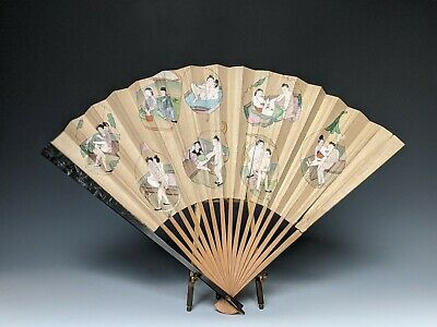 Fine Antique Chinese Painting Erotic Hand Fan 19th 1900s Gouache on Paper Qing