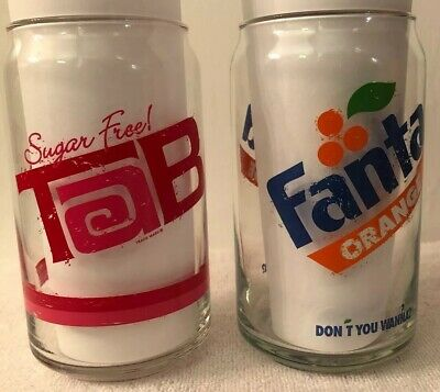Retro Coca Cola Fanta Orange And Tab 16 oz Can Shaped Drinking Glass Lot