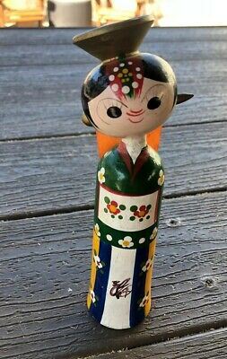 Vintage Japanese Kokeshi Wooden Girl Doll Made in Japan VTG