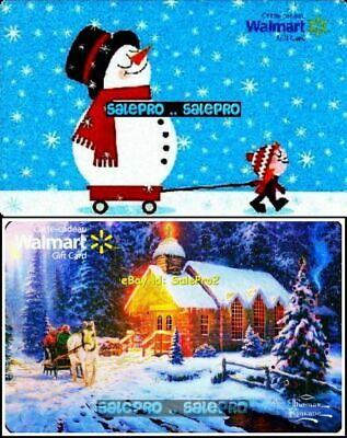 2x WALMART CHRISTMAS CHARIOT COUNTRY LODGE & SNOWMAN COLLECTIBLE GIFT CARD LOT