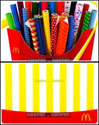 2x McDONALD CHRISTMAS WRAPPING PAPER ROLL FRENCH FRIES COLLECTIBLE GIFT CARD LOT