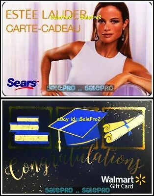 2x SEARS ESTEE LAUDER COSMETIC WALMART GRADUATION LTD COLLECTIBLE GIFT CARD LOT
