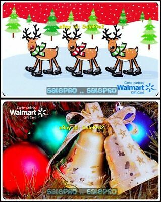 2x WALMART CHRISTMAS BELL ORNAMENT BALL XMAS REINDEER COLLECTIBLE GIFT CARD LOT