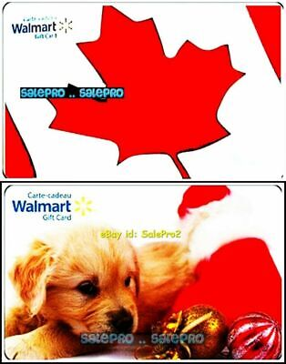 2x WALMART CHRISTMAS NOEL DOG CANADIAN MAPLE LEAF FLAG COLLECTIBLE GIFT CARD LOT