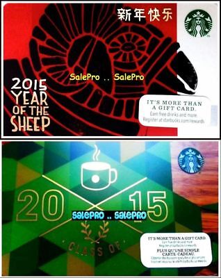 2x STARBUCKS 2014 CLASS OF 2015 CHINESE YEAR OF SHEEP COLLECTIBLE GIFT CARD LOT