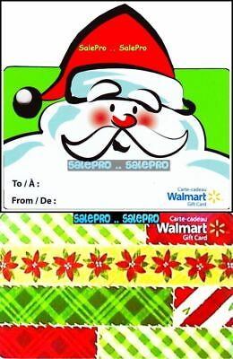 2x WALMART CHRISTMAS SANTA CLAUS CARD WRAPPING PAPER COLLECTIBLE GIFT CARD LOT